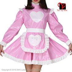 ==> [Free Shipping] Buy Best Sexy Pink and White Rubber dress and white Latex apron Waitress baby doll frilles Latex Maid uniform short sleeves Online with LOWEST Price   32810657992
