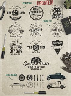 Car Service Badges & Elements by JeksonGraphics on @creativemarket