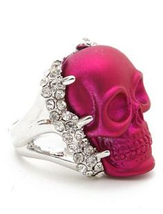 Hot Pink skull with crystals Skull Jewelry, Jewelry Box, Jewelry Accessories, Fashion Accessories, Unique Jewelry, Metal Skull, Skull Art, The Bling Ring, Pink Skull