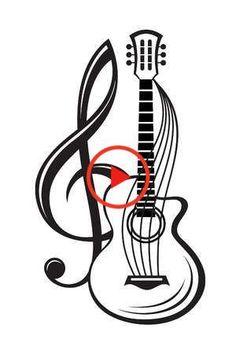 Monochrome, Guitar Vector, Treble Clef, Vector Art, Illustration, Clip Art, Stock Photos, Image, Guitar