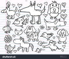 Notebook Doodle Sketch Animal Vector Illustration Set