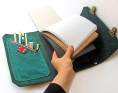 Leather sketchbook case with pen holder and cross body strap, Leather journal, Artist portfolio