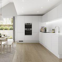 White Kitchen Cupboards, Handleless Kitchen, Kitchen Cupboard Doors, Barn Kitchen, All White Kitchen, Modern Kitchen Cabinets, Modern Kitchen Design, New Kitchen, White Kitchens