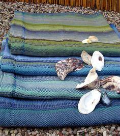 Beach Towel- Handwoven Linen Flax - POSEIDON  Set of 4 towels by Amizanti via Etsy