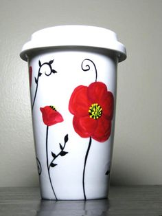 Items similar to Painted Travel Mug- Poppy Flower Design, Eco-Friendly on Etsy Pottery Painting Designs, Pottery Designs, Mug Designs, Ceramic Painting, Diy Painting, Hand Painted Mugs, Painted Pottery, Diy Becher, Poppy Drawing