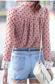 Denim shorts,polka dot blouse – New York Fashion New Trends Teen Fashion, Fashion Outfits, Womens Fashion, Fashion Trends, Fashion Photo, Polka Dot Blouse, Polka Dots, Chiffon Shirt, Look Chic