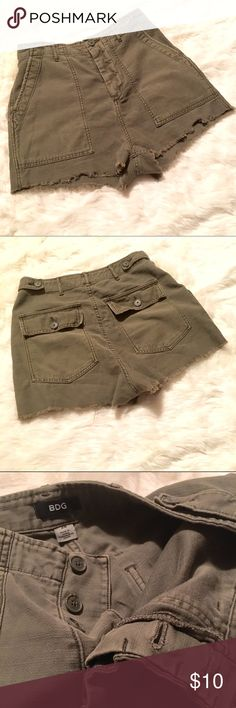 BDG High Waisted Army Green Shorts Summer is over but it's never too early to stock up on shorts. These army green BDG shorts are cute and have a 1.5 inch inseam. Frayed at the bottom and high waisted. Big pockets. Bundle for a discount! Custom bundles on request :) Let me know if you have questions? BDG Shorts Jean Shorts