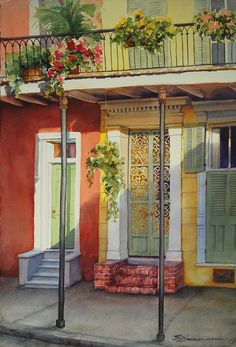 Sue Zimmerman   WATERCOLOR French Quarter Neighbors Painting