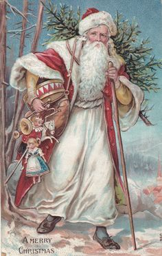 Santa Claus White and Red Suit Cane Toys Dolls 1907 Christmas Postcard