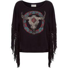 Denim & Supply Ralph Lauren Dolman Ram Fringed Sweater (£85) ❤ liked on Polyvore featuring tops, sweaters, print sweater, boho tops, black top, boho sweater and crochet pattern sweater