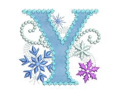Ice Princess Applique Letter Y Frozen Cloth by EmbroideryLand