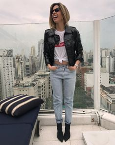 casual jeans + leather jacket