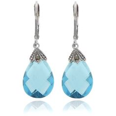 Dolce Giavonna Silver Overlay Marcasite and Cubic Zirconia Teardrop... (£8.03) ❤ liked on Polyvore featuring jewelry, earrings, blue, blue teardrop earrings, cubic zirconia dangle earrings, blue earrings, long dangle earrings and cz dangle earrings