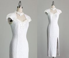 90s Vintage White Lace Bodycon Spandex Chiffon Scarf by decades, $94.00