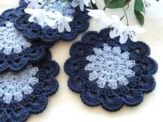 Crochet Coasters Coaster Placemat Table linens Kitchen Decor Gift Crochet Doilies Tablecloth Crochet Doily Round Cotton Table Home Decor によく似た商品を Etsy で探す Crochet Coaster Pattern, Crochet Doily Patterns, Crochet Motif, Crochet Designs, Crochet Doilies, Crochet Flowers, Cotton Crochet, Crochet Cord, Thread Crochet