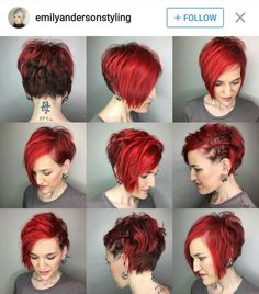 Pixie back, bobbin in the front. Razor cut for the win 🍷🍷🍷. She does her fab color and does a great job. Pretty Short Hair, Funky Short Hair, Edgy Hair, Short Hair Cuts For Women, Short Hair Styles, Prom Hairstyles For Short Hair, Asymmetrical Hairstyles, Cool Hairstyles, Cut My Hair