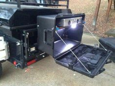 . #campingequipmentgoogle Jeep Camping, Truck Bed Camping, Camping Box, Camping Kitchen, Expedition Trailer, Overland Trailer, Kombi Motorhome, Camper Trailers, Accessoires Jeep