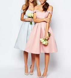 Chi Chi London Midi Prom Dress with Full Skirt and Bardot Neck ChiChi London Sukienka na wesele - róż/błękit