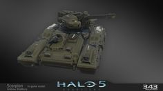 The all new Scorpion tank from Halo 5 Unsc Halo, Ancient Alphabets, Halo Series, Halo Reach, Spaceship Art, Halo 5, Sci Fi Ships, Concept Weapons, Tank Design