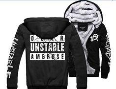 Dean Ambrose Sweater Hoodies Thickening Plus velvet jacket black (XX-Large / UK Large)