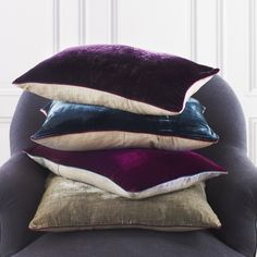 Not bold enough to go for velvet furniture? Try velvet cushions and throws as a starting point. Scatter Cushions, Throw Pillows, House Extension Design, Purple Interior, Textiles, Velvet Cushions, Colour Schemes, Soft Furnishings, Decoration