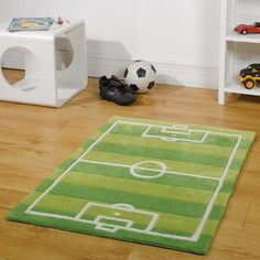 Kiddy Play Football Pitch Rug By Flair Rugs, Football pitch design rug for kids bedroom, playroom, football pitch rug with free delivery Boys Football Bedroom, Football Rooms, Football Pitch, Kids Football, Football Field, Bedroom Themes, Kids Bedroom, Bedroom Ideas, Bedroom Inspiration