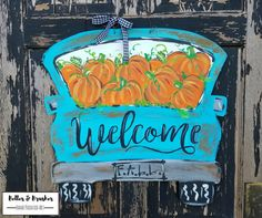 Pumpkin Pickup Truck door hanger, Rusty Old Pickup loaded with pumpkins perfect for FALL!!  Fall Pickup Truck door hanger, Rusty old truck door hanger, Fall pick up, pumpkin pickup by BellesandBrushes on Etsy