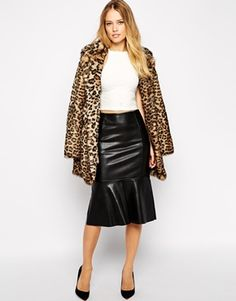 Warehouse Faux Leather Tulip Skirt