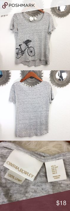 """100% linen bicycle tee Nwot Cynthia Rowley tee with bicycle graphic. Heathered gray top with black and gray graphic. Brand new without tags. Approx 18"""" arm to arm approx 23"""" long. Slight higher hemline in the front. Relaxed fit. Super cute! Bundle with more of my items for a fun discount ✨💁 Cynthia Rowley Tops Tees - Short Sleeve"""