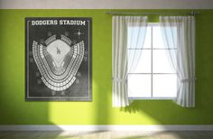 Vintage Print of Los Angeles Dodger Stadium Seating Chart Diagram Blueprint Park Football Dome Sports Photo Canvas LA Art Baseball Field