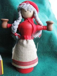 Vintage Wood Christmas Doll Elf Gnome Santa Tomte Sweden Figure Candle holder