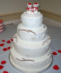Winter Wonderland Cake ~made by myself for a Christmas Wedding.