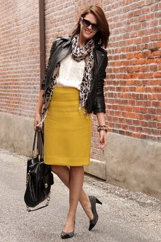 @Jessica Quirk   What I Wore, What I Wore, What I Wore, Moto Jacket, Yellow Skirt, Leopard Print, Tweed Pumps, Jessica Quirk, Fashion Blog, Style Blog, Person...