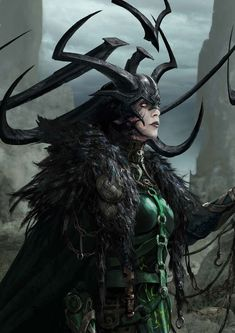 A concept art of Hela done for the movie Thor : Ragnarok (Marvel Studios) Marvel Hela, Hela Thor, Marvel Heroes, Marvel Avengers, Bucky Barnes, Loki, Hulk, Dark Art Paintings, Akali League Of Legends