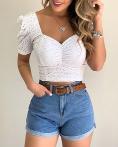 Cute Casual Outfits, Girly Outfits, Cute Summer Outfits, Short Outfits, Chic Outfits, Fashion Outfits, Fashion Trends, Vetement Fashion, Mode Streetwear