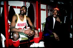 Hakeem with Clyde on the night he was traded to Houston.    For the latest Rockets news & updates, visit www.rockets.com.