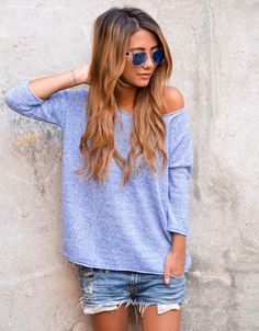 slouchy sweater and jean shorts. fall anyone?