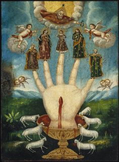 Giclee fine art print from antique century Mexican folk art devotional painting called Mano Poderosa (The All-Powerful Hand), or Las Cinco Personas (The Five Persons).