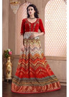 Party Wear Multicolour Pure Silk Gown - MISTHI02