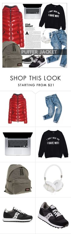 """""""Too Cool For School"""" by galacticgirl ❤ liked on Polyvore featuring Moncler, Eastpak, Frends, Saucony, StreetStyle, Winter, polyvorecontest and puffers"""