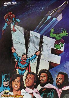 I don't know what universe has the BeeGees, Superheroes and Sean Cassidy team up with Battlestar Galactica but I would dub it awesometown