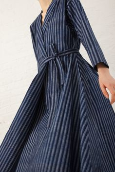 Wrap Dress in Blue Indigo Print