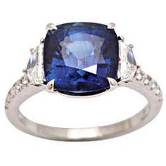 Cushion Ceylon Sapphire Diamond Platinum Ring
