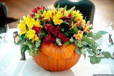 fall floral arrangements in pumpkins   Fall Pumpkin Arrangement - Fall Wedding - Pumpkin Centerpiece - Lilies ...