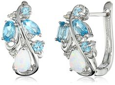 Sterling Silver Created Opal with Blue and White Topaz Accent Hoop Earrings Amazon Collection http://www.amazon.com/dp/B00MY62VT6/ref=cm_sw_r_pi_dp_N1Zivb0NAAF5P