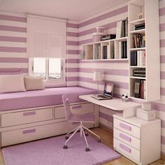 Loving the horizontal lilac stripes! Maybe mix a little garden green in there too (rug and chair perhaps?) for some complementary color action. Kids Bedroom Designs, Room Design Bedroom, Room Ideas Bedroom, Home Room Design, Small Room Bedroom, Bedroom Decor, Small Teen Room, Study Room Decor, Cute Room Decor