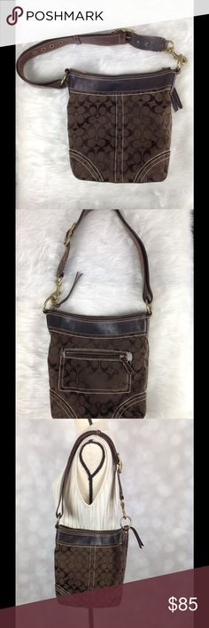 Coach Brown Signature C Shoulder Bag w/Dustbag Signature jacquard fabric in rich chocolate brown. Leather strap and trim. Gold tone hardware with buckle for that perfect length. Top zipper closure. Very durable bag in great condition. Some pics reflect light making it look like there is wear when there is not on the outside fabric.  The light is reflecting the sateen C's. Coach Bags Shoulder Bags
