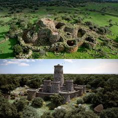 Nuraghe Arrubiu at Orroli (Sardinia, Italy) - today and in a virtual reconstruction. This nuragic complex dates back to ca. 1500 BCE, but it was also used in Roman times. The wide stronghold and the neighboring village cover an area of 3,000 square meters. It owes its name (Red Nuraghe) to the characteristic reddish color due to the lichens that cover the surface of the stones.