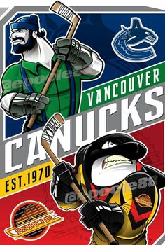 Vancouver Canucks - An Orca wearing the 1970 Canucks Jersey at the bottom & a lumberjack with green shirt, blue overalls & a hockey stick Hockey Posters, Hockey Logos, Sports Logos, Sports Teams, Vancouver Canucks Logo, Helmet Logo, Blue Overalls, Ice Girls, Hockey Stuff