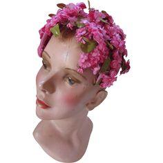 Feminine Mid Century Half Hat in Dainty Peony Pink Blossoms